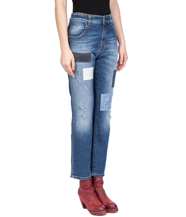 Washed Slim Straight Patched Denim