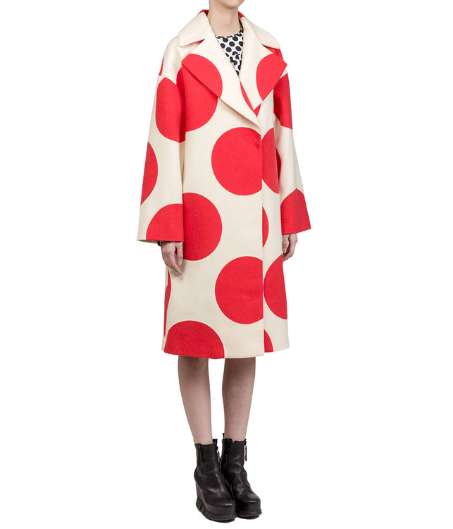 White and Red Polka-Dot Coat