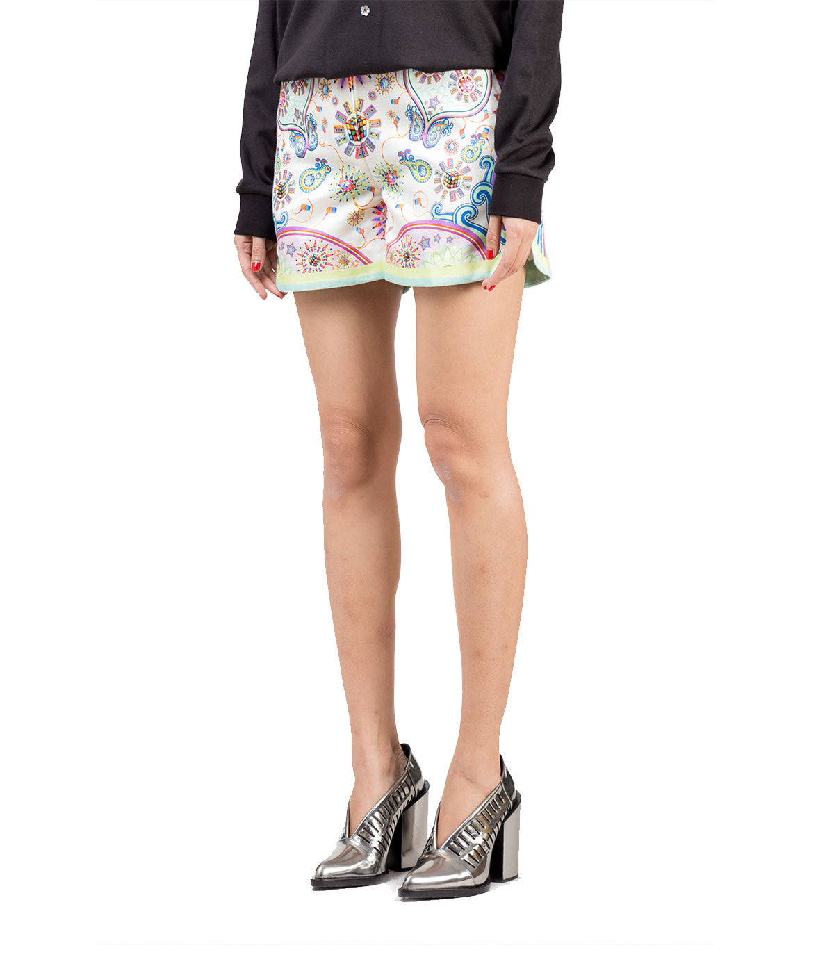 Printed High-Waist Shorts