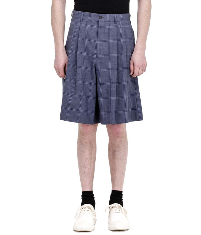 Blue Checkered Wool Shorts