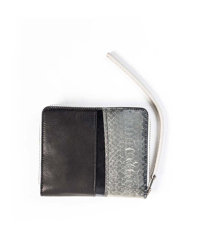 Snake & Calf Skin Leather Zip Wallet