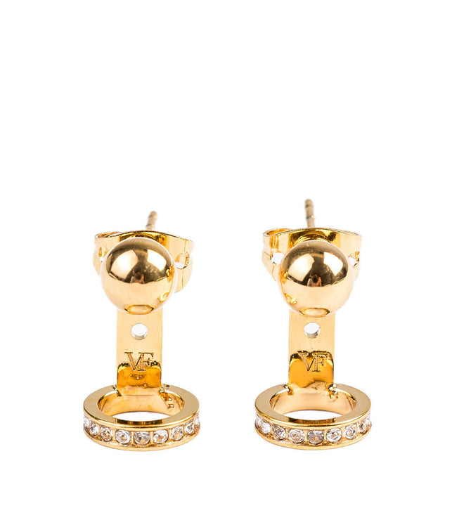 Gold Sfera Crystal Ring Earrings