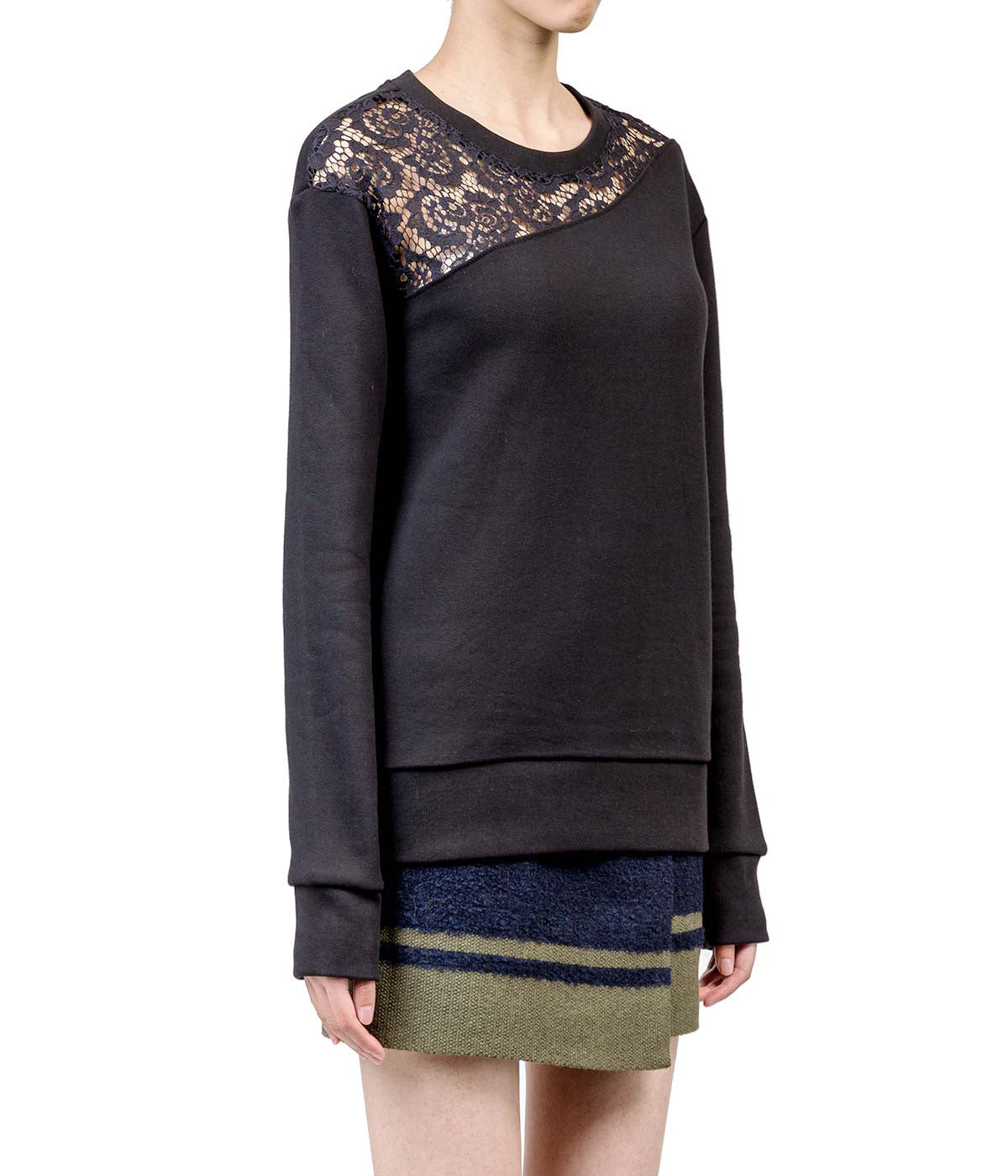 Black Lace Inset Sweatshirt