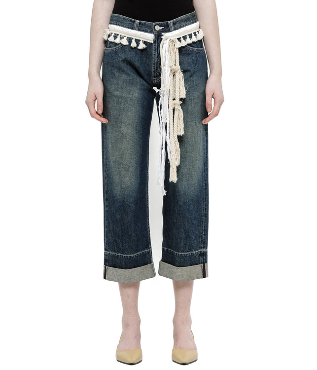 Blue Rope Tassel Denim Jeans