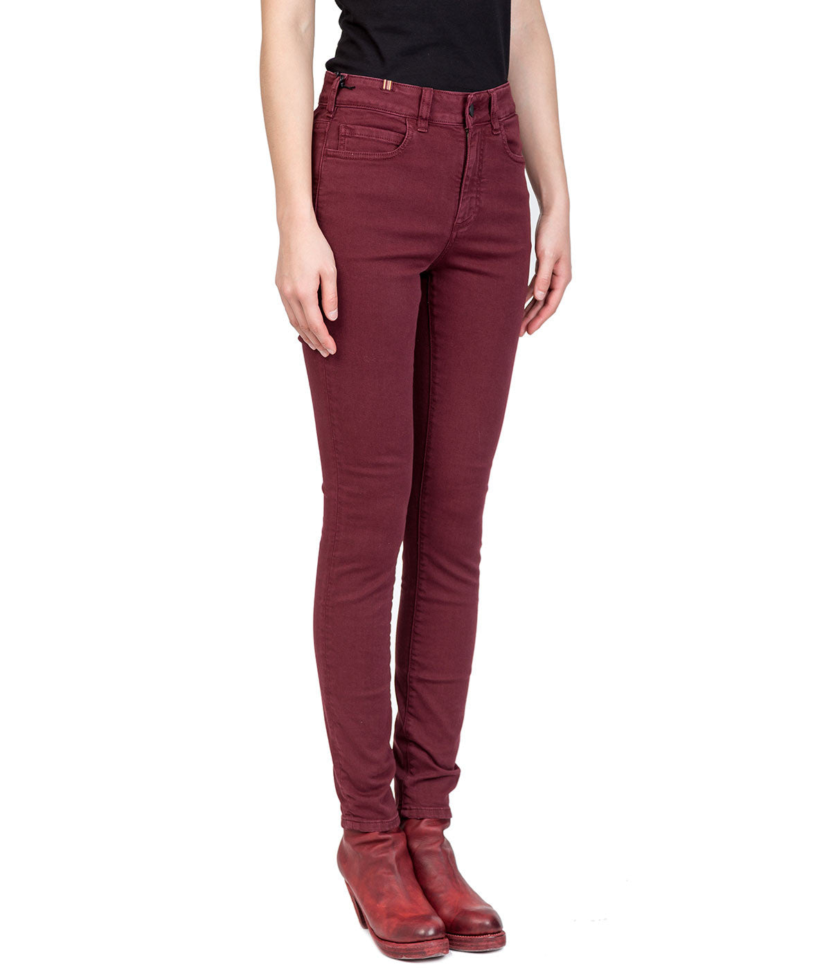 Burgundy Skinny Denim