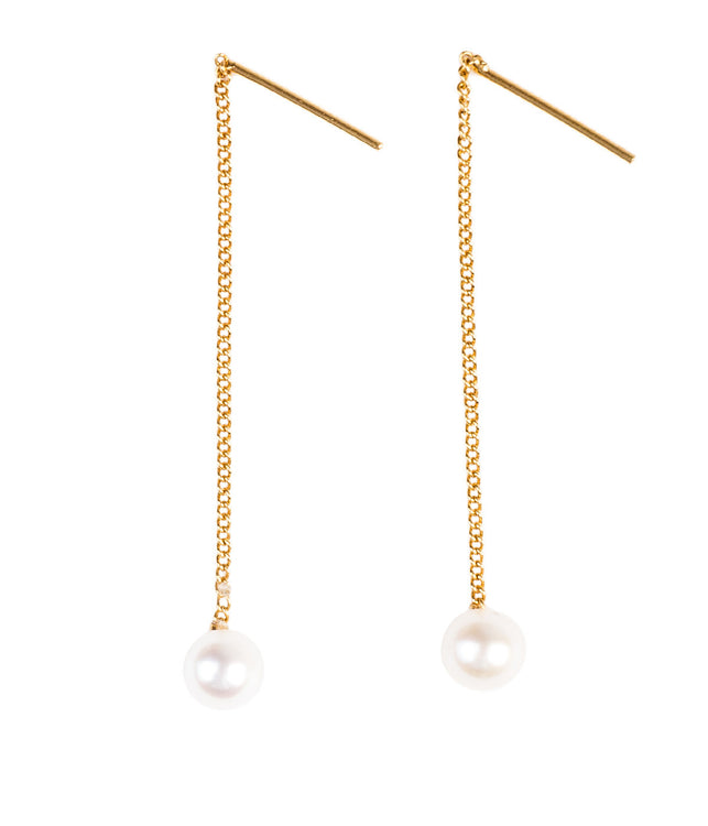 Gold Pearl Thread Earrings