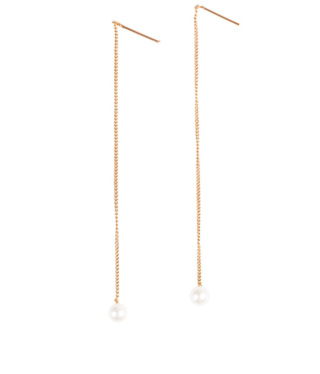 Rose Gold Pearl Thread Earrings