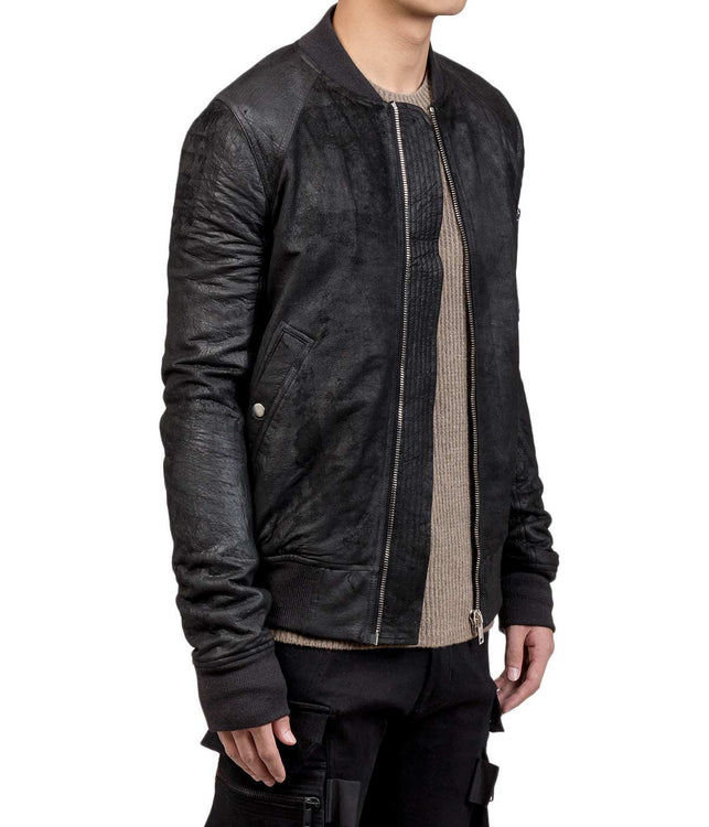 Black Distressed Leather Bomber Jacket