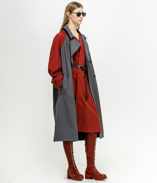 Grey Contrast Sleeves Trench Coat