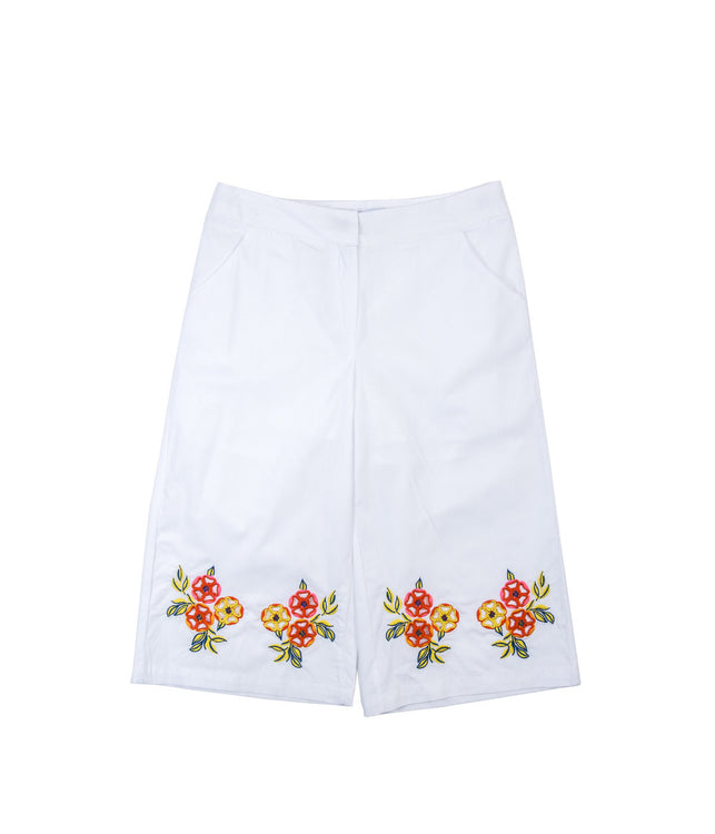 White Embroidery Pants