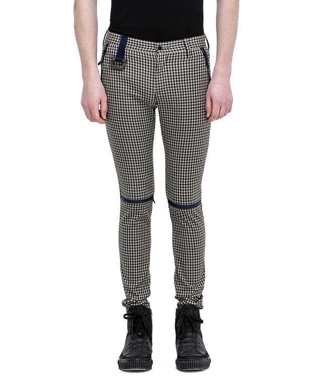 Beige Check Zipper Pants