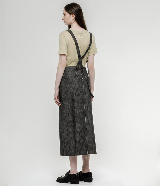 Black Denim Suspender Skirt