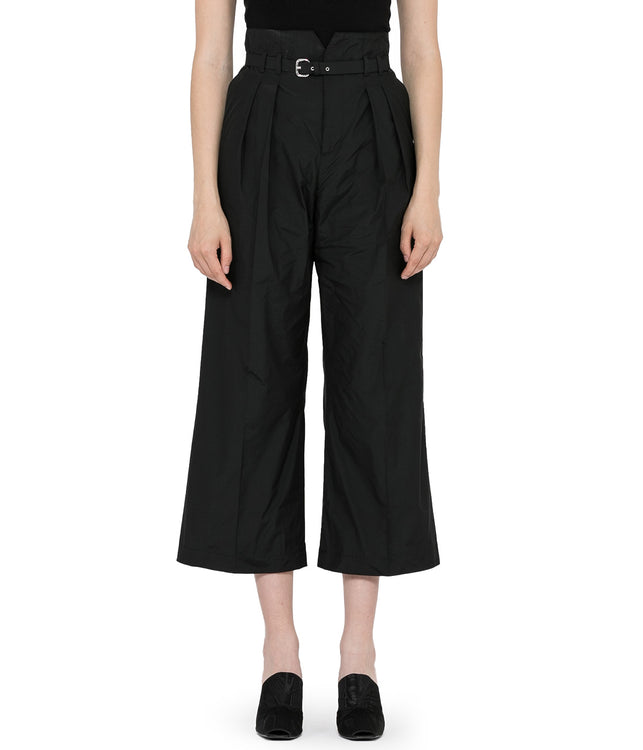 Black Belted Pleat Pants