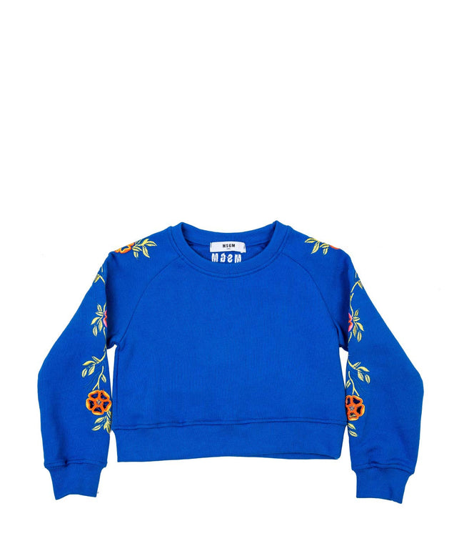 Blue Embroidered Sweatshirt