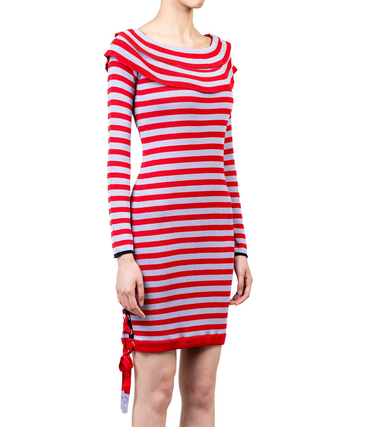 Red White Striped Embellished Cotton Dress