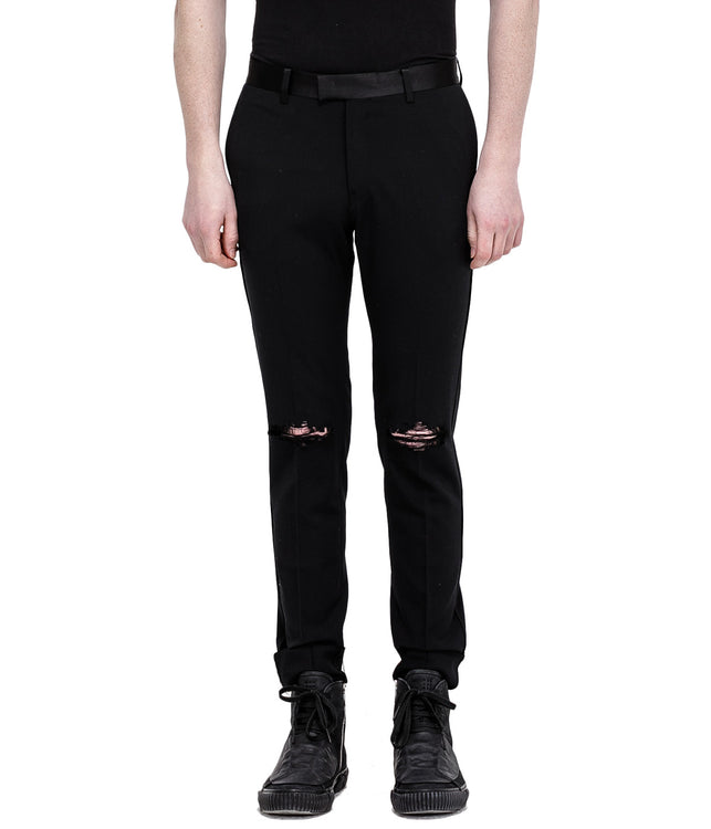 Black Distressed Wool Trousers