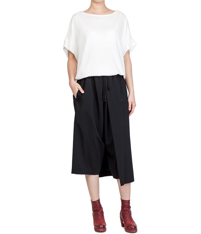 Black Draped Panel Oversized Trousers