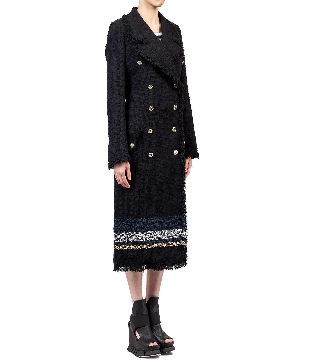 Black and Blue Striped Tweed Trench Coat