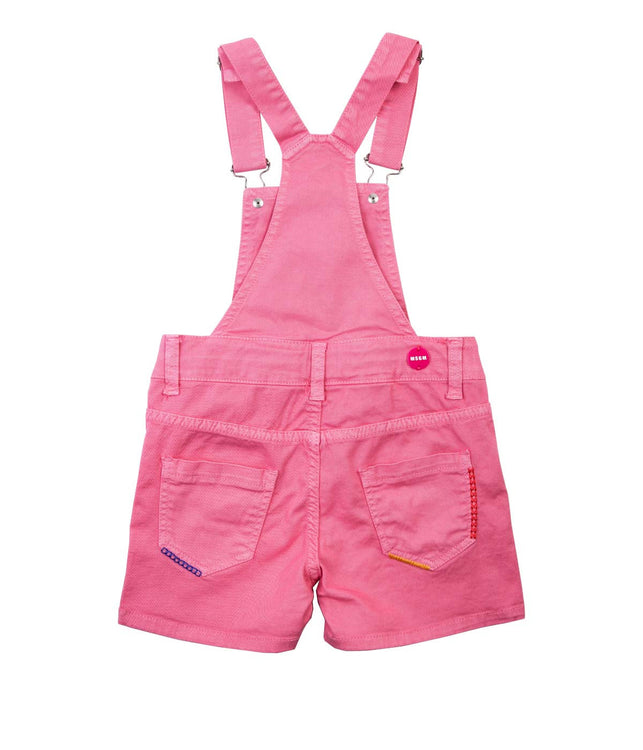 Pink Embroidered Overall Shorts