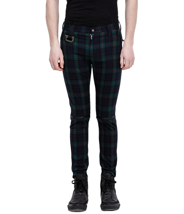 Green Tartan Check Zipper Pants