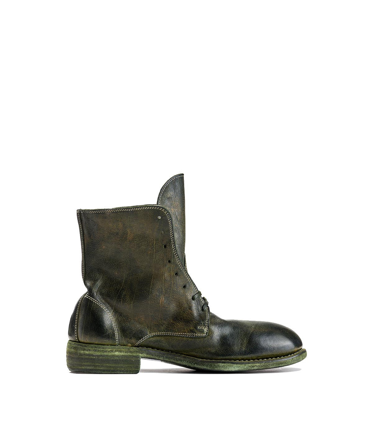 Forest Green Lace-up Reverse Baby Buffalo Ankle Boots