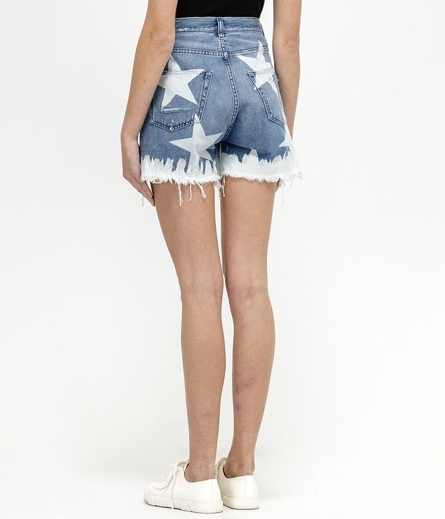 Blue Stars Denim Shorts