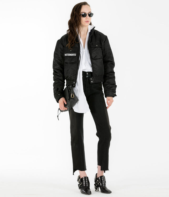 Black Navy Reversible Police Women Jacket
