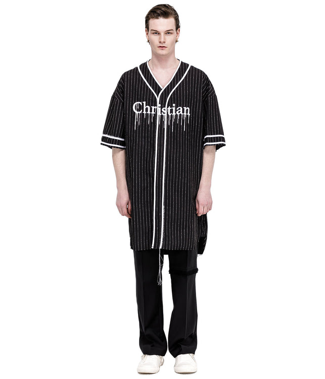 Black Liquidated Baseball Shirt