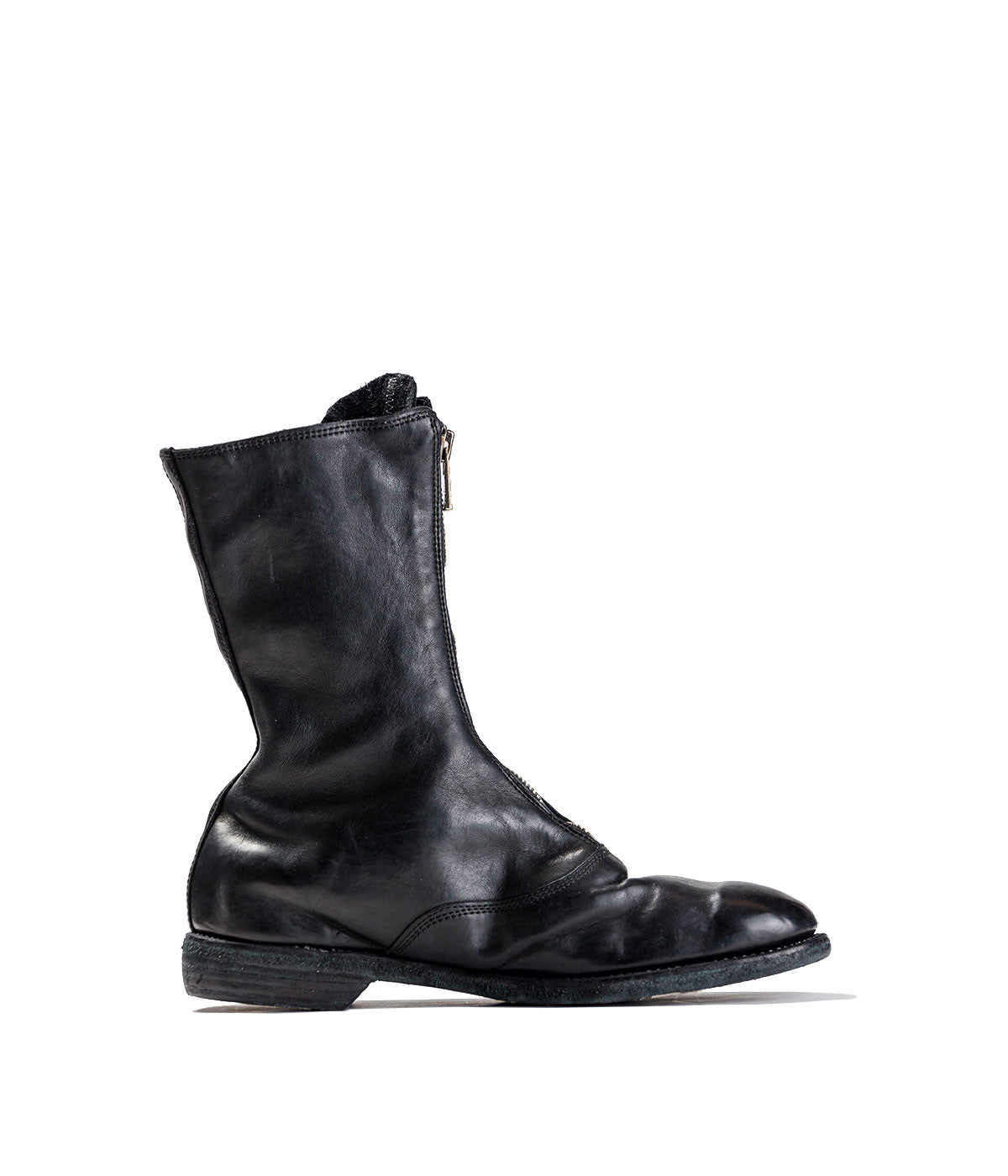 Black Wingtip Horse Leather Boots
