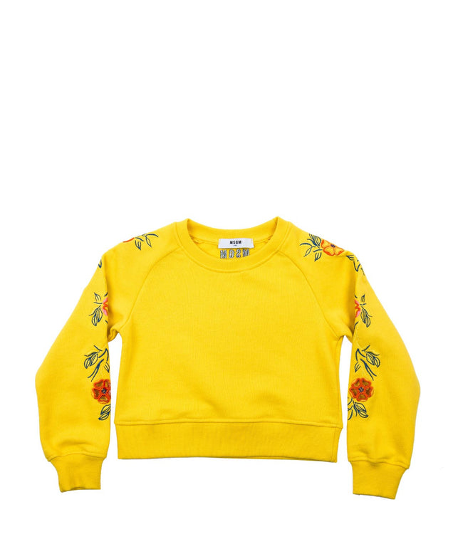 Yellow Embroidered Sweatshirt