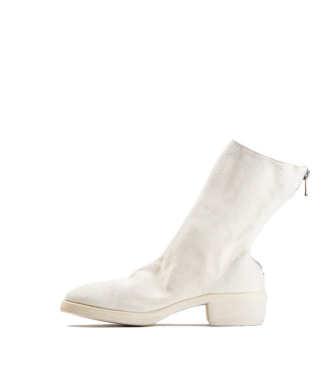 White Back Zip Ankle Boots