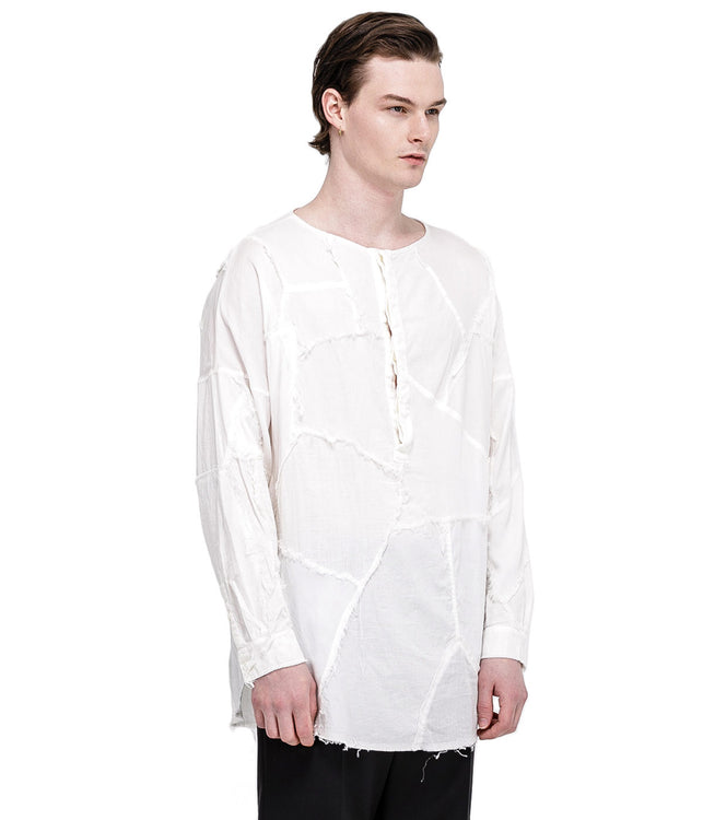 White Patch Work Henley Shirt