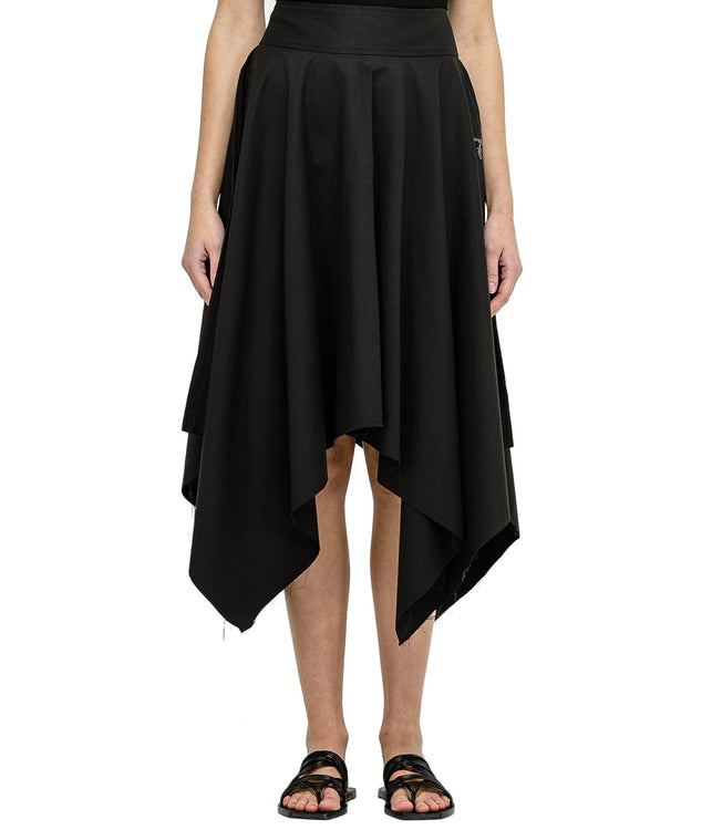 Black Swarovski Linen Skirt