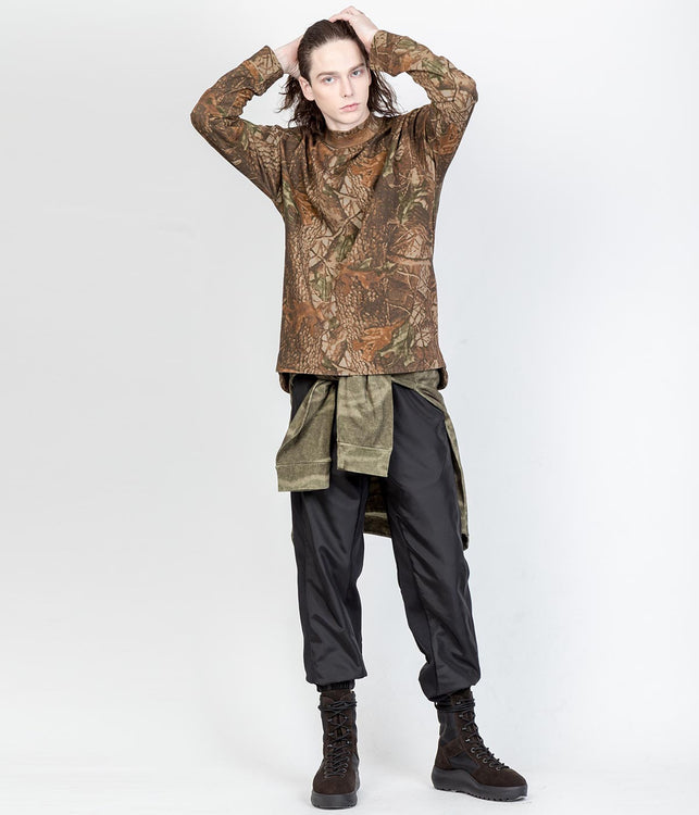 Brown Camo Moto Knit Top