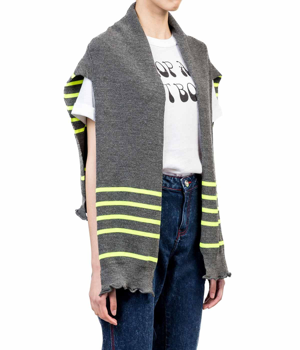 Grey Yellow Striped Ribbed Half Sweater
