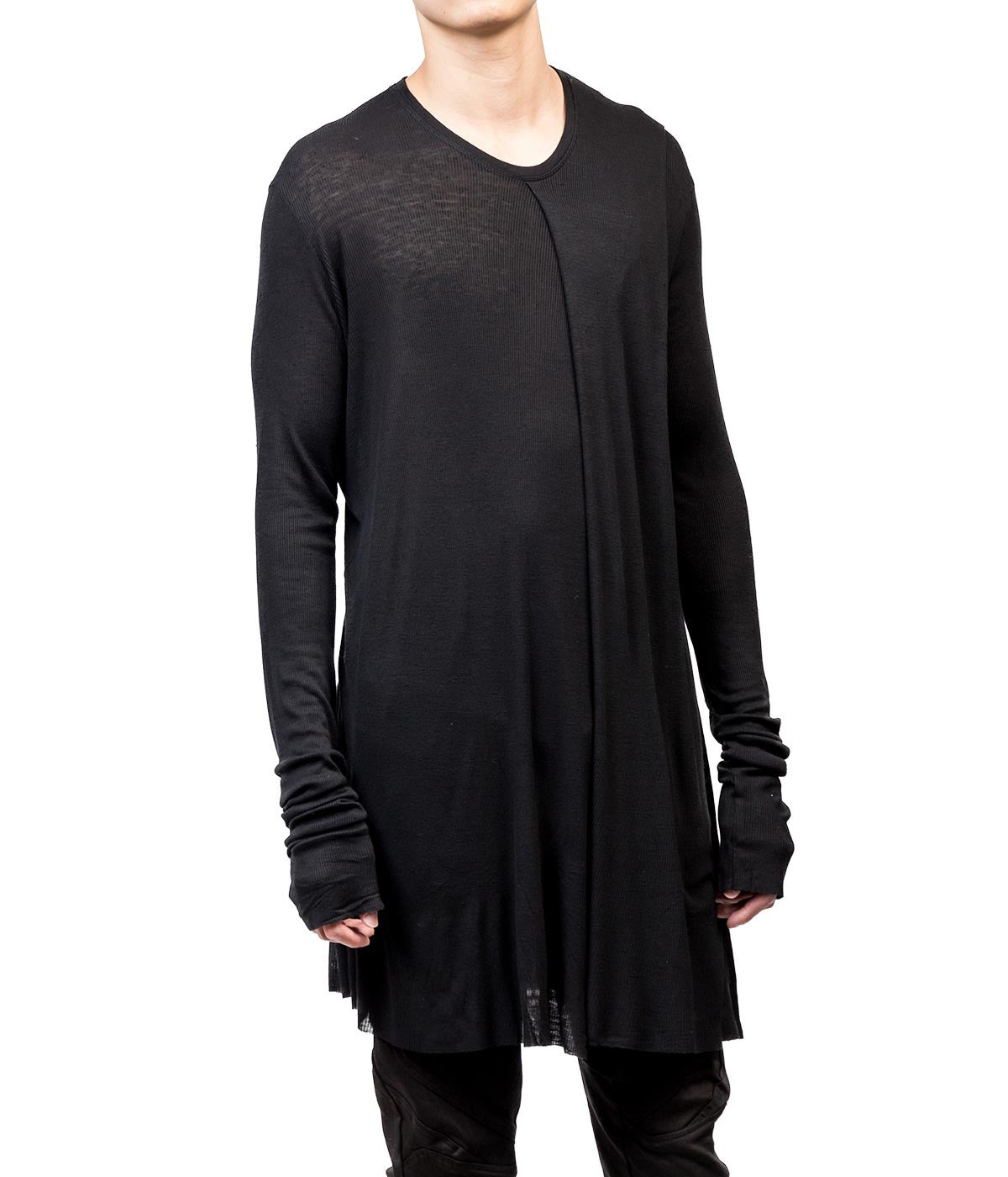 Black Ribbed Jersey Long T-shirt