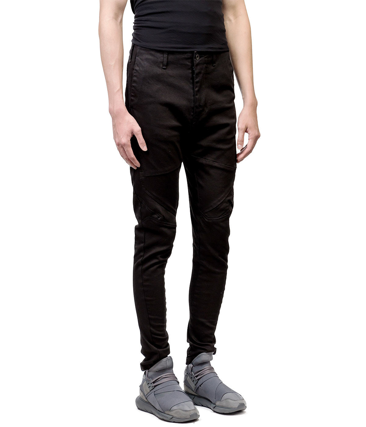 Black Twill Stretch Denim Pants