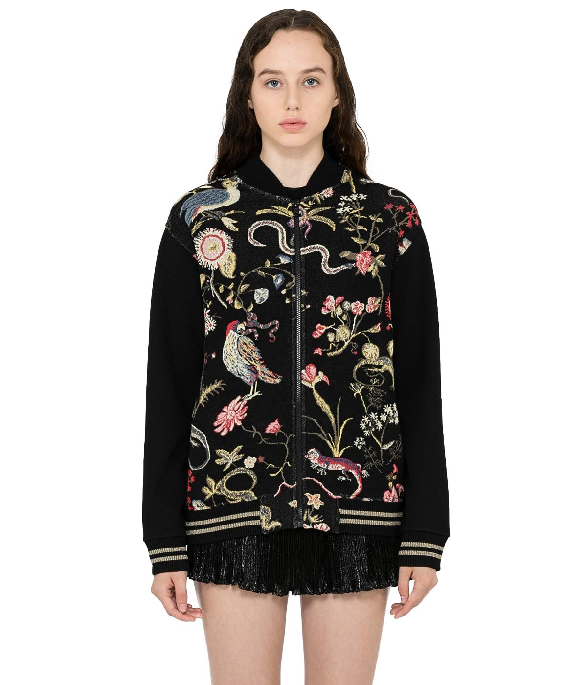 Black Flora and Fauna Bomber