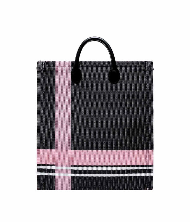 Black Striped Woven Tote Bag