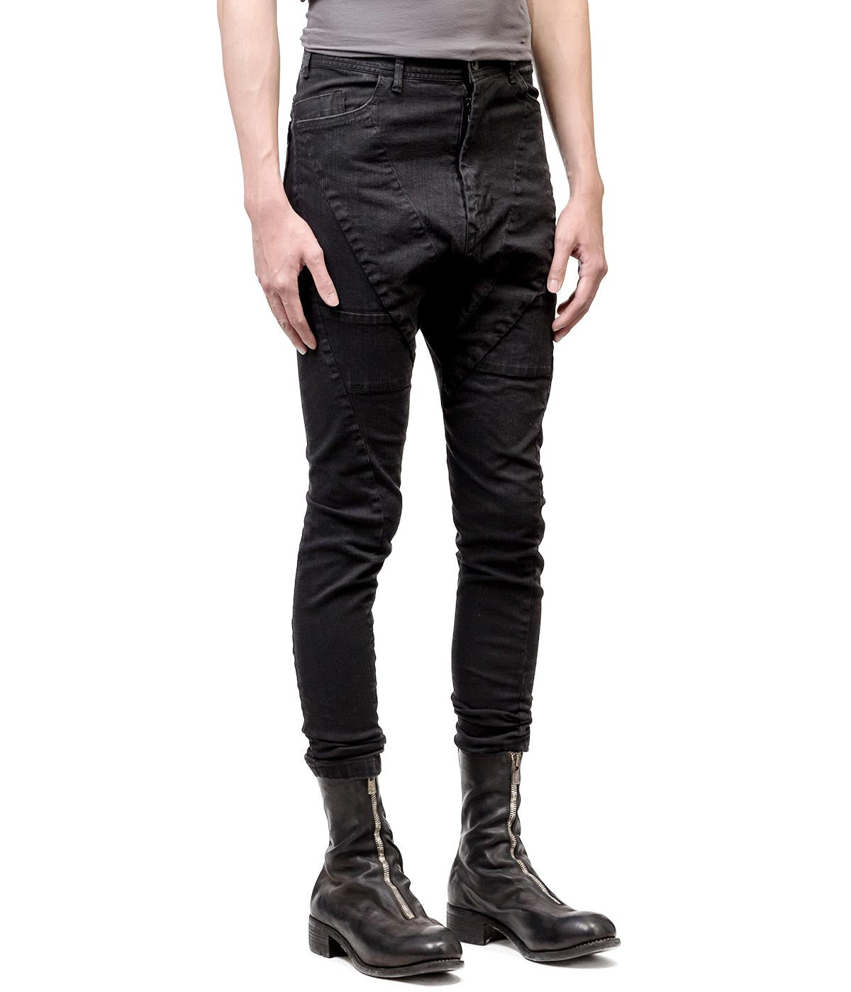 Black Distressed Drop Crotch Jeans