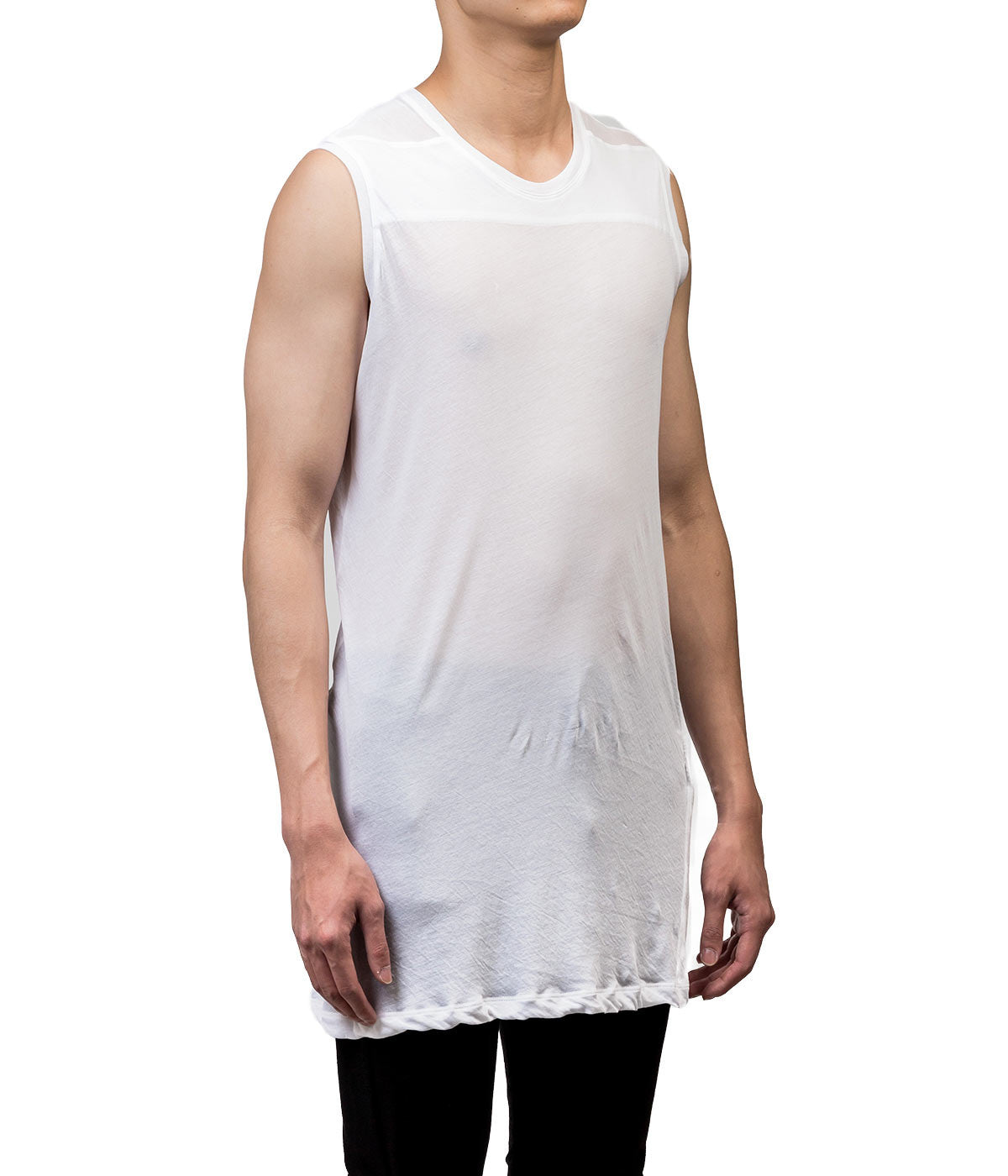 White Jersey Sheer Long Tank