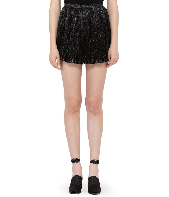 Black Metallic Pleated Shorts