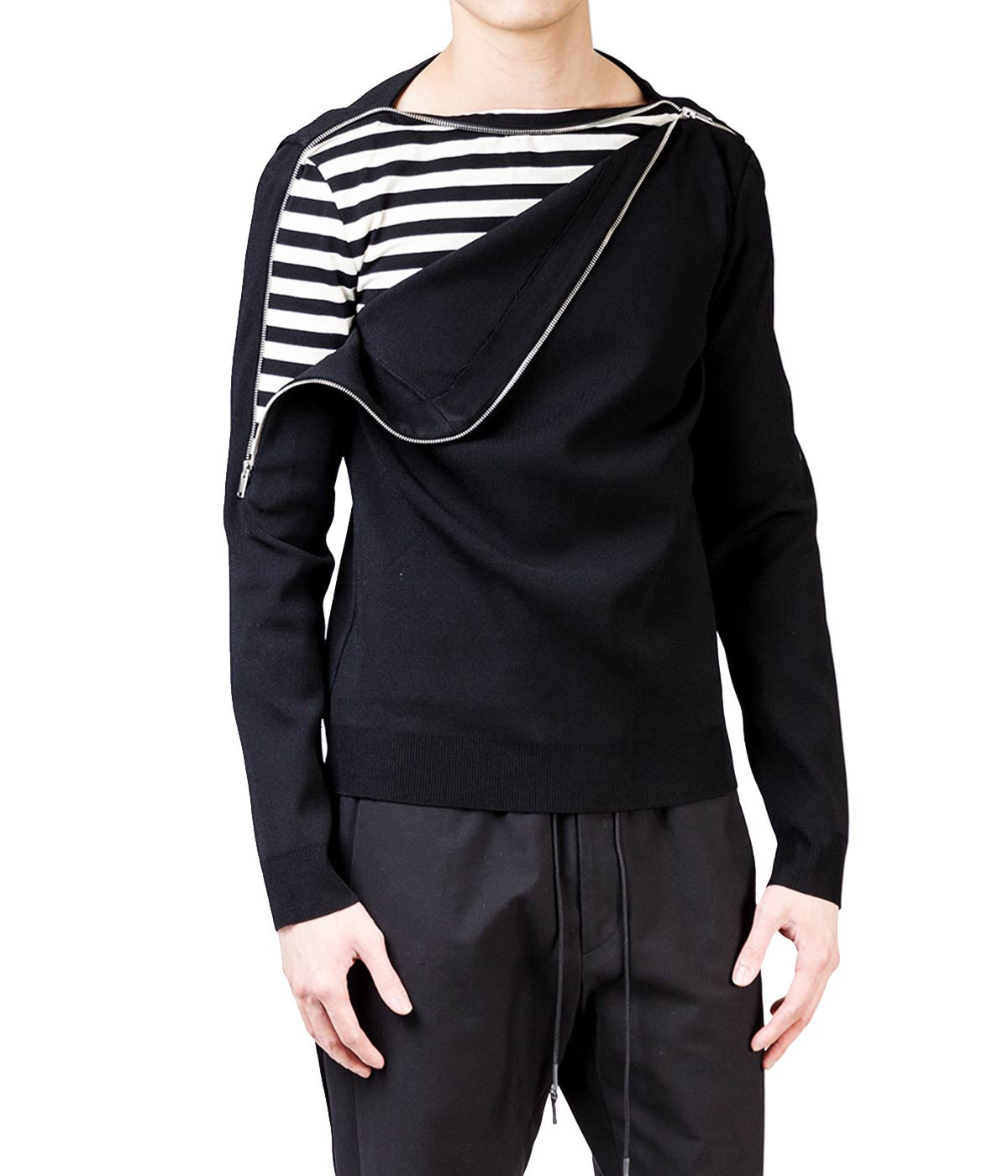 Double Layer Boat Neck Sweater