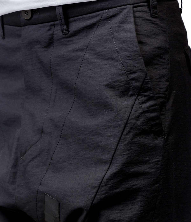 Black Dropped Crotch Cotton Pants