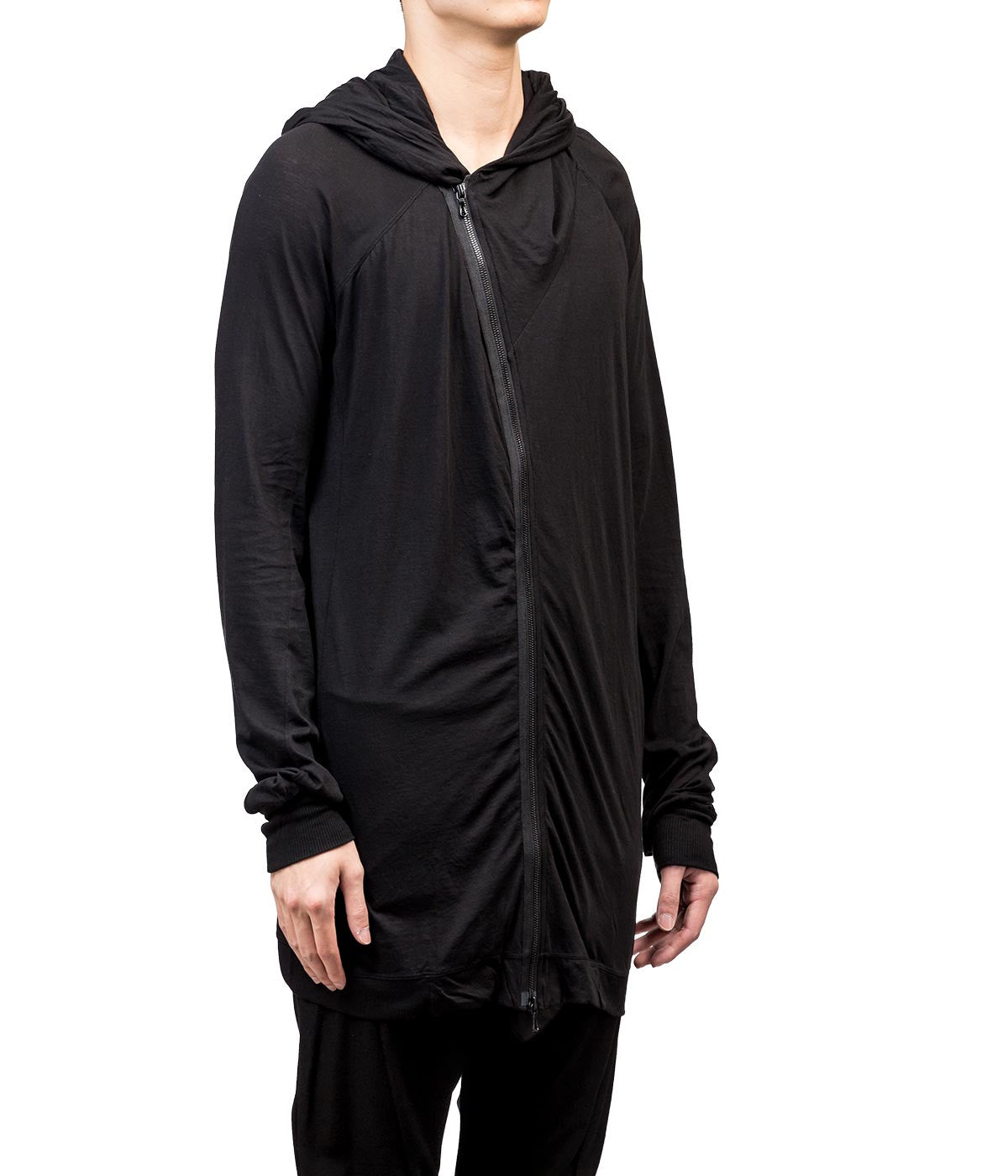 Black Off-Centre Zip Hoodie