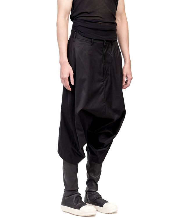 Black Twill Dropped Crotch Pants
