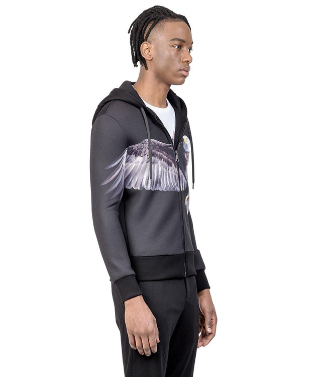 Black Reuben's Eagle Zip Up Hoodie