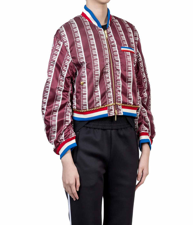 Red Striped Reversible Bomber Jacket