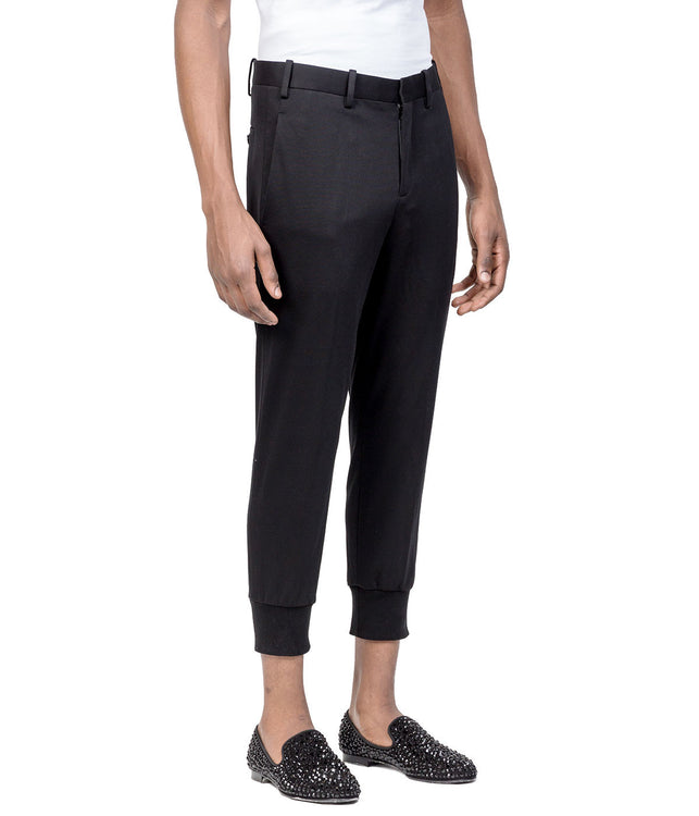 Black Elastic Hem Trousers