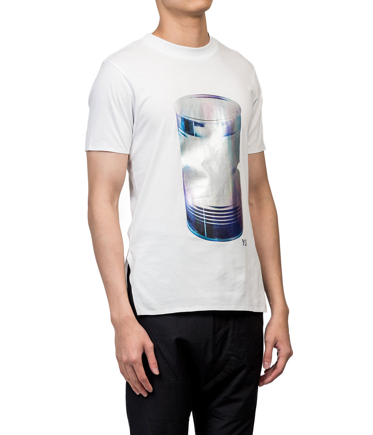 White Metallic Can Print T-shirt